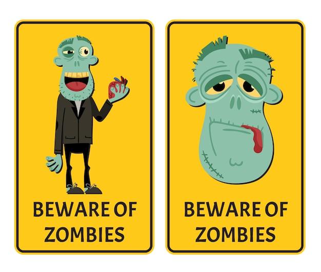 Méfiez-vous des étiquettes zombies avec monstre heureux Vecteur Premium