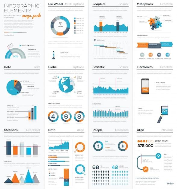 Mega colletion d'éléments infographiques vectoriels d'affaires Vecteur Premium
