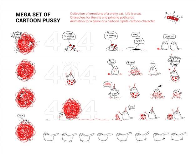 Mega ensemble de chatte de dessin animé. collection d'émotions d'un joli chat. Vecteur Premium
