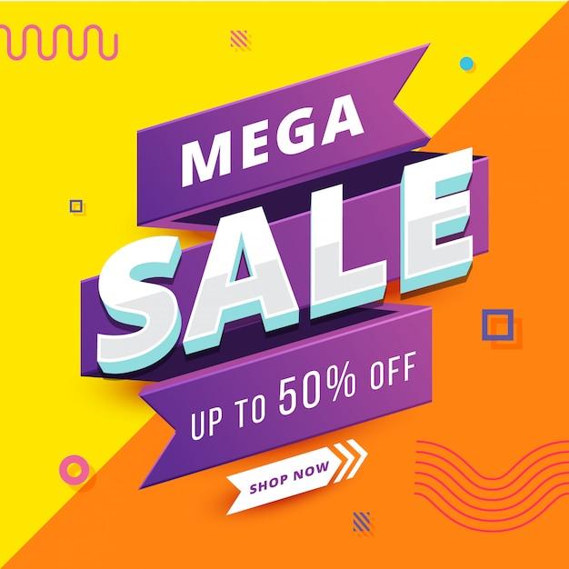 Mega sale banner avec fond géométrique Vecteur Premium