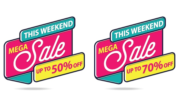 Mega sale banner sticker template vector Vecteur Premium
