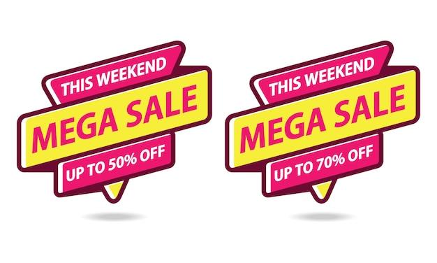 Mega sale banner sticker template vector Vecteur Premium