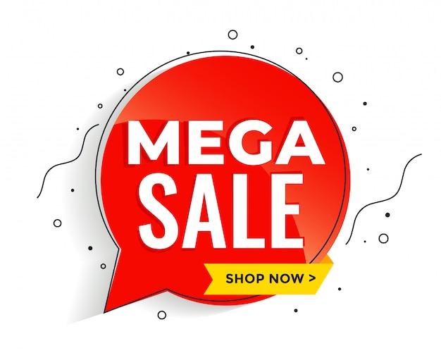 Mega vente bannière dans le modèle de bannière de style memphis Vecteur gratuit