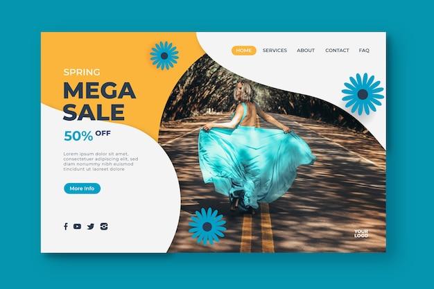 Méga Vente De Printemps Et Page De Destination De Fleurs Bleues Vecteur gratuit