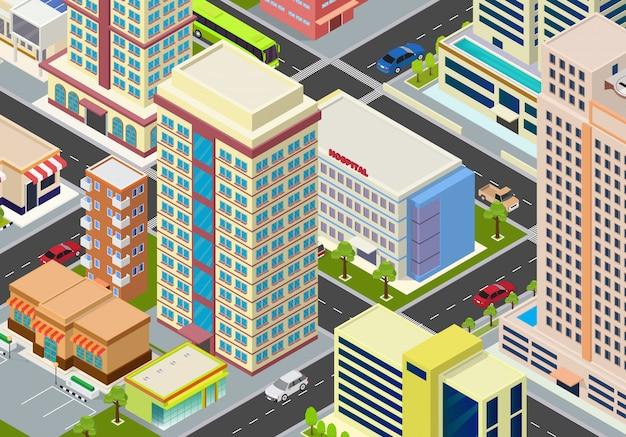 Mégapoles de la ville isométrique plate Vecteur Premium