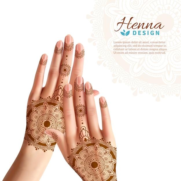 Mehndi henna woman hads realistic design Vecteur gratuit