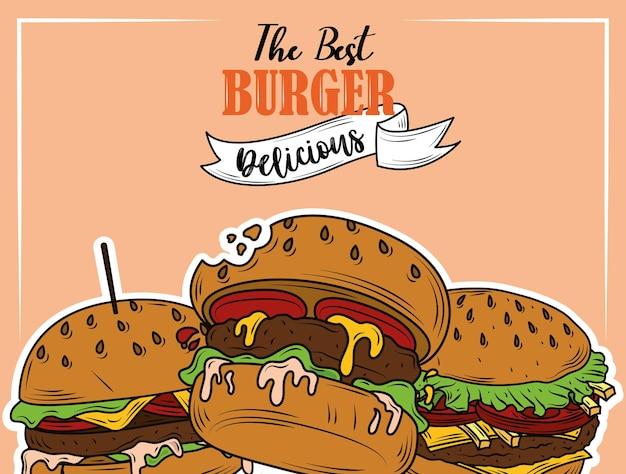 Le Meilleur Burger Délicieux Menu De Restauration Rapide Conception De Flyer De Restaurant Vecteur Premium