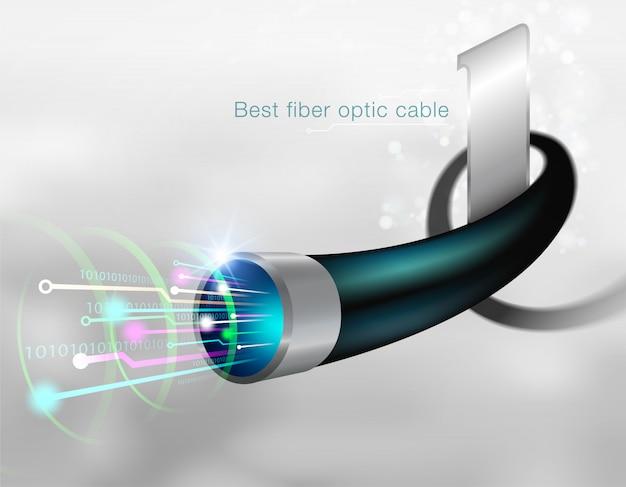 Meilleur câble à fibre optique envoyez rapidement des données volumineuses Vecteur Premium