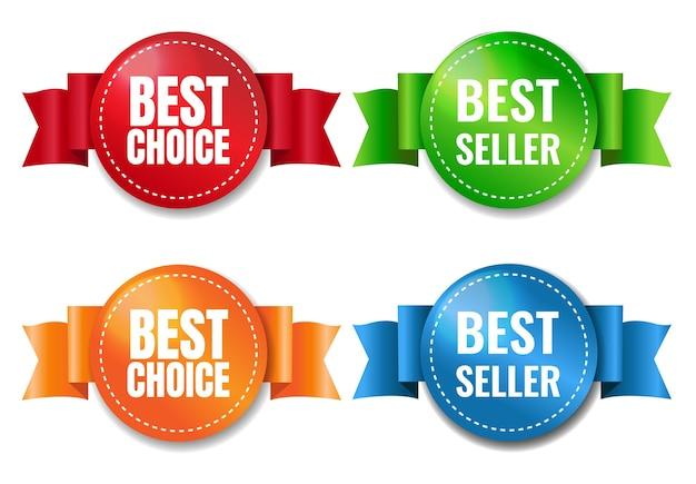 Meilleur Choix D'étiquettes Sur Fond Blanc Avec Filet De Dégradé, Illustration Vecteur Premium