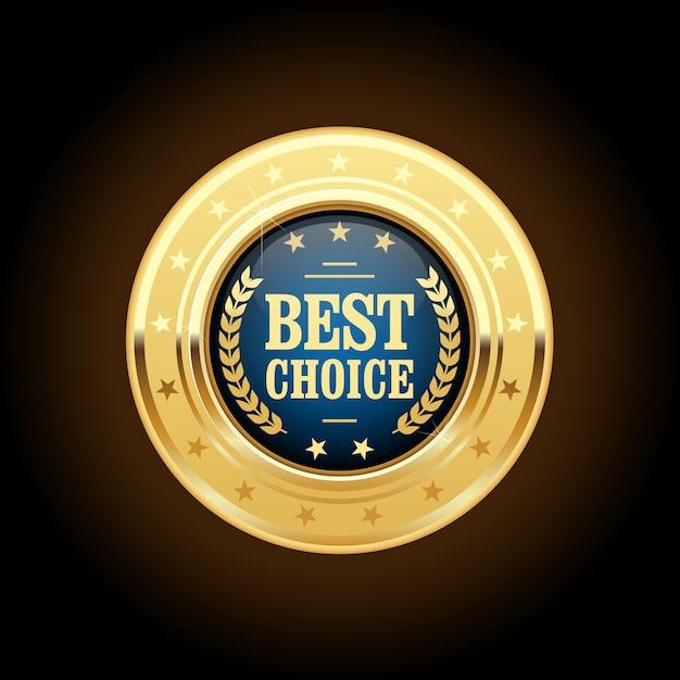 Meilleur Choix Insigne D'or - Médaille Ronde Vecteur Premium