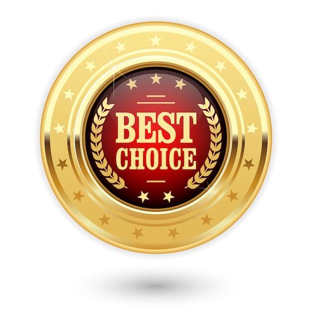 Meilleur Choix - Insigne D'or (médaille) Vecteur Premium