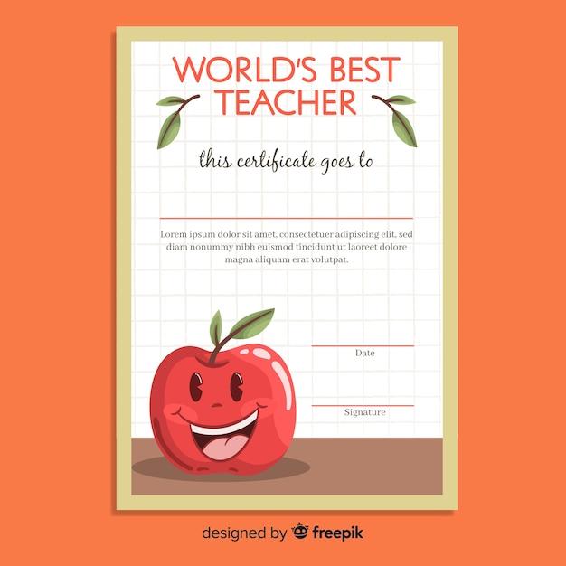 Meilleur diplôme d'enseignant au monde Vecteur gratuit