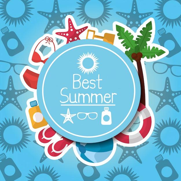 Meilleur été affiche vacances loisirs voyage Vecteur gratuit