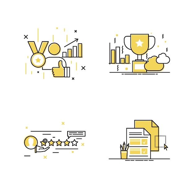 Meilleur jeu d'icônes de récompense Vecteur Premium