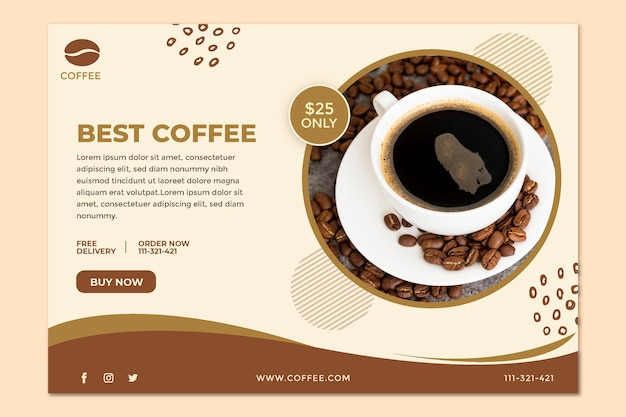 Meilleur Modèle De Bannière De Café Vecteur Premium