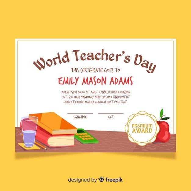 Meilleur modèle de diplôme d'enseignant au monde Vecteur gratuit