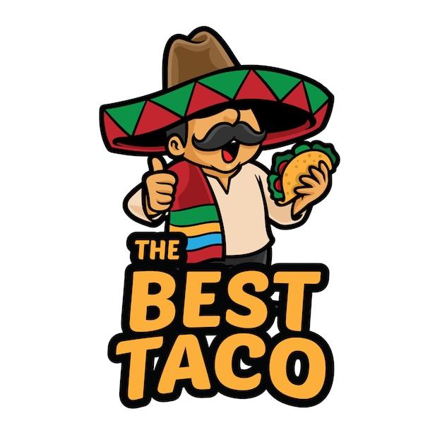 Meilleur Modèle De Mascotte De Logo Taco Vecteur Premium