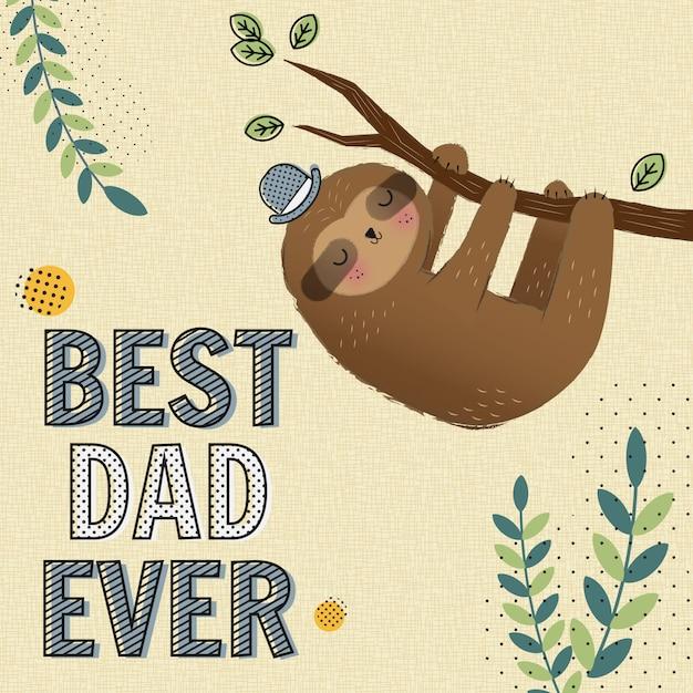 Meilleur papa jamais carte Vecteur Premium