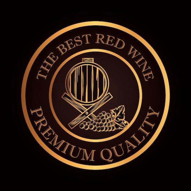 Meilleur tonneau de vin et raisins Vecteur Premium