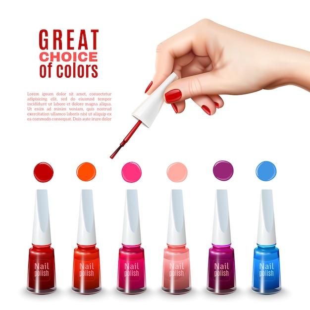 Meilleure affiche réaliste de couleurs de vernis à ongles Vecteur gratuit