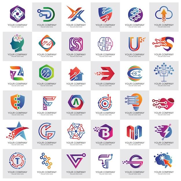 Meilleure collection de logo de technologie Vecteur Premium