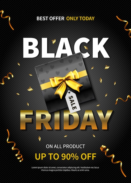 Meilleure Offre Bannière Ou Affiche Du Vendredi Noir Avec Boîte-cadeau De Couleur Foncée Vecteur gratuit