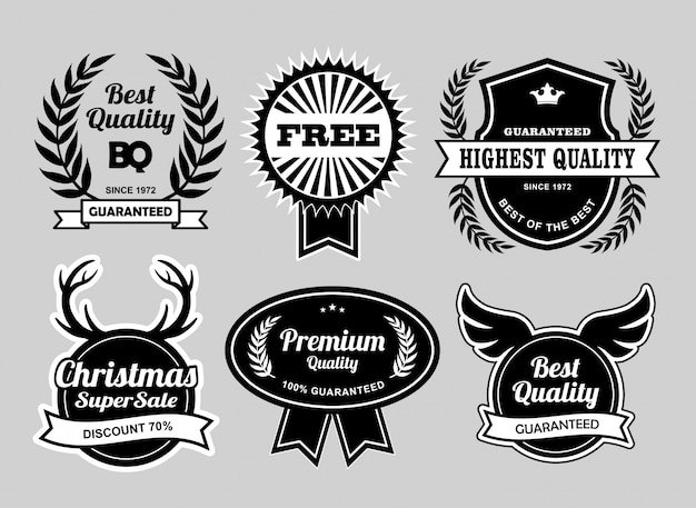 Meilleure qualité et badges de vente de noël Vecteur Premium