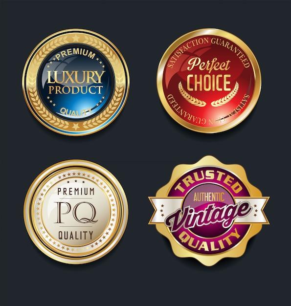 Meilleure qualité super vente étiquettes rétro vintage doré Vecteur Premium