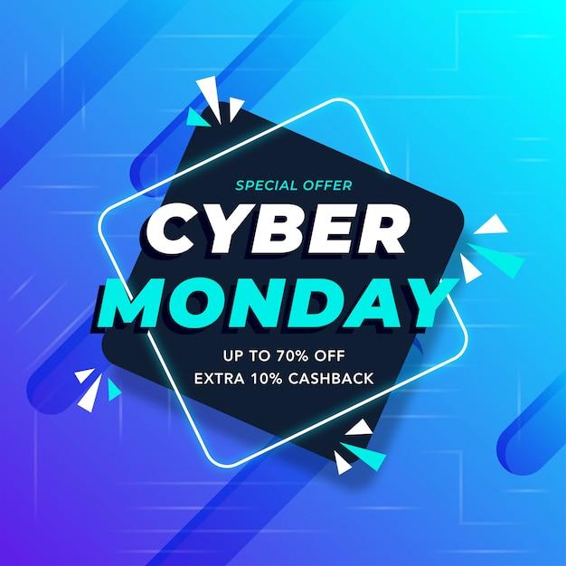 Meilleure vente cyber lundi bannière Vecteur Premium