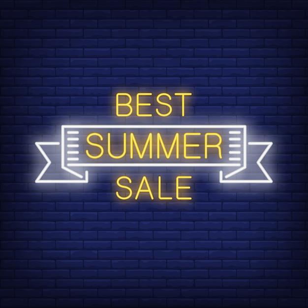 Meilleure vente d'été défiler dans le style néon. mot d'été à l'intérieur du ruban blanc Vecteur gratuit