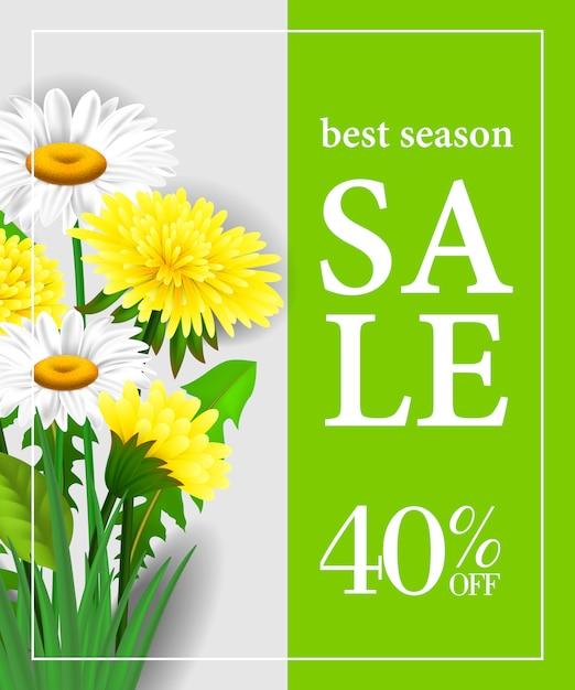 Meilleure vente de saison quarante pour cent de rabais sur le modèle d'affiche avec des fleurs blanches et jaunes Vecteur gratuit