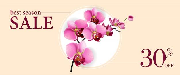 Meilleure vente de saison trente pour cent sur bannière avec des fleurs roses dans un cercle blanc Vecteur gratuit