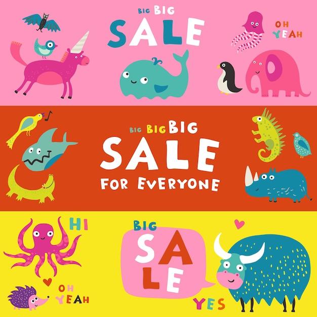 Meilleurs Alphabets Pour Enfants Livres Abc Aides à L'apprentissage 3 Bannières Publicitaires De Vente Horizontale Colorée Ensemble Isolé Vecteur gratuit