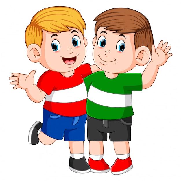 Meilleurs Amis Enfants Debout Avec La Main Sur L'épaule Vecteur Premium