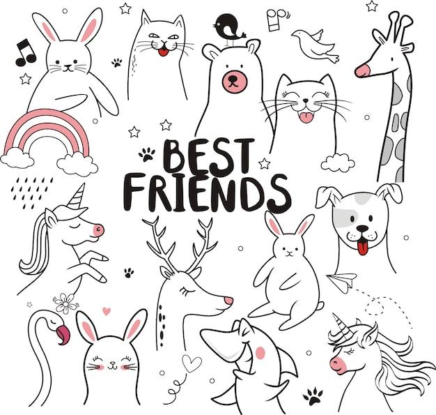 Meilleurs amis, illustration d'animaux mignons pour enfants Vecteur Premium