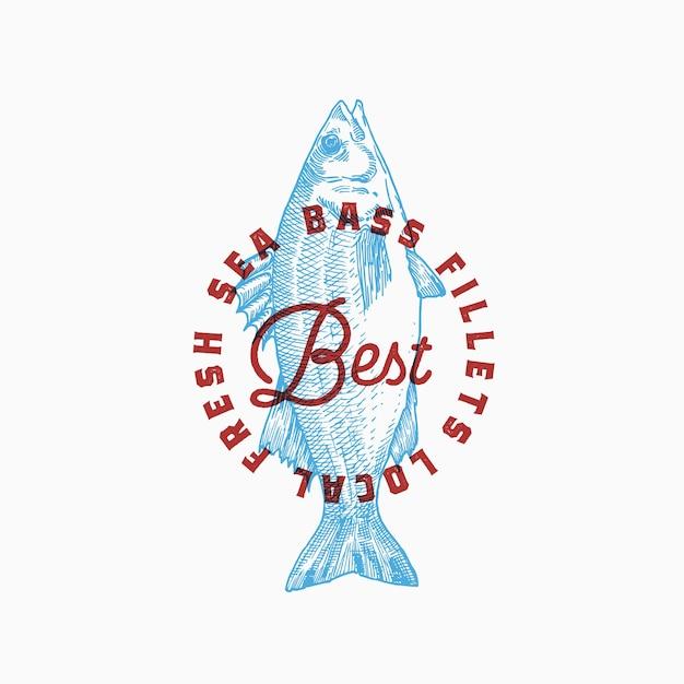 Meilleurs Filets De Bar Locaux. Modèle Abstrait De Signe, De Symbole Ou De Logo. Vecteur gratuit