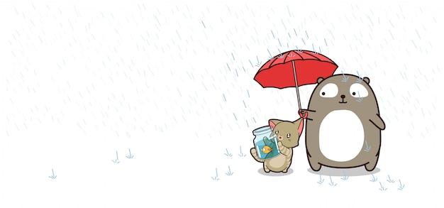 Meilleurs Personnages Amis Avec Parapluie Vecteur Premium