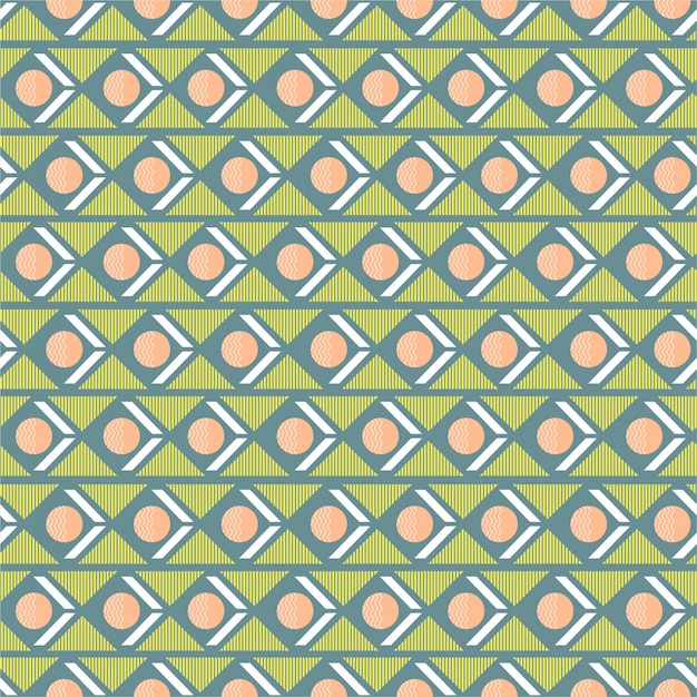 Mélange de motifs sans soudure géométriques doux et pastel avec une rayure de triangle de cercle dans la conception d'humeur rétro horizontale pour la mode, le tissu, le papier peint, l'emballage et tous les imprimés Vecteur Premium