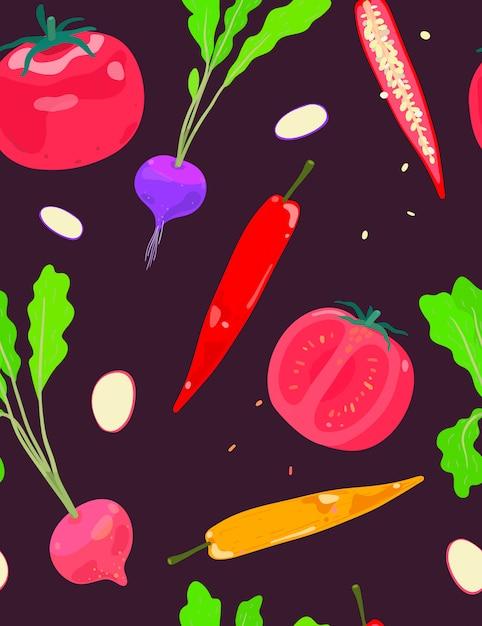Mélanger les légumes radish seamless pattern chili et tomate Vecteur Premium