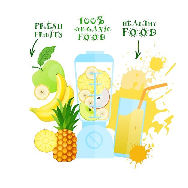 Mélangeur avec logo de jus de fruits frais logo aliments sains concept de produits biologiques Vecteur Premium