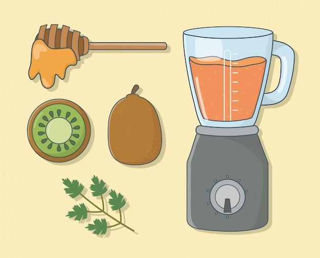 Mélangeur avec une préparation saine de miel et de kiwi Vecteur Premium