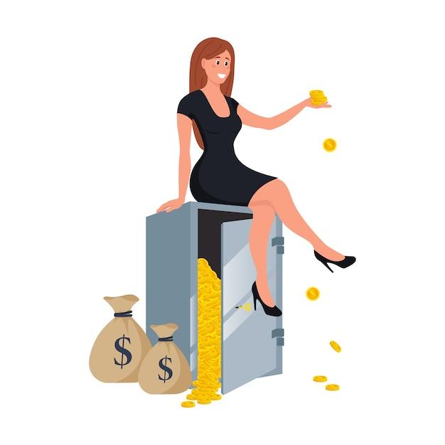 Melioneer Girl Est Assise Sur Un Coffre-fort Avec Un Tas D'or Vecteur Premium
