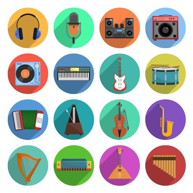 Mélodie et musique icons set Vecteur Premium