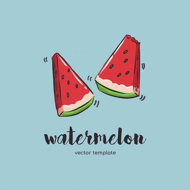 Melon d'eau dessiné à la main Vecteur Premium