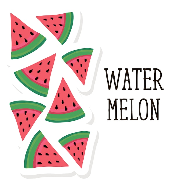 Melon d'eau style vector illustration Vecteur Premium