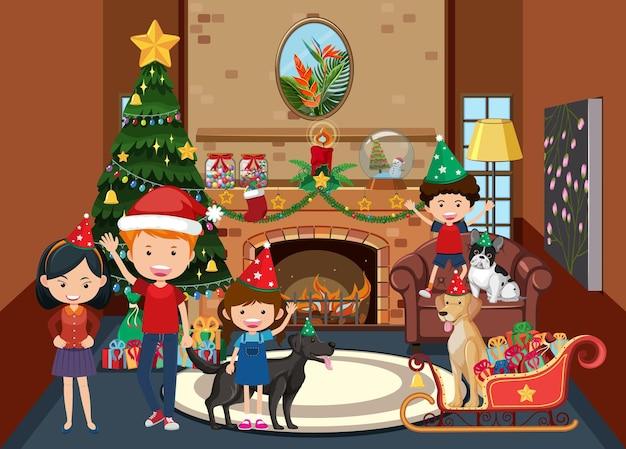 Membre De La Famille Célébrant Noël à La Maison Vecteur Premium