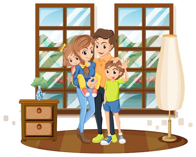 Membres de la famille dans la maison Vecteur Premium