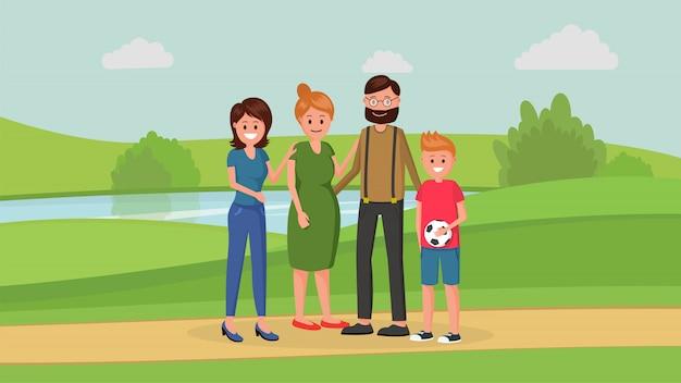 Membres De La Famille Dans Le Parc Vecteur Premium