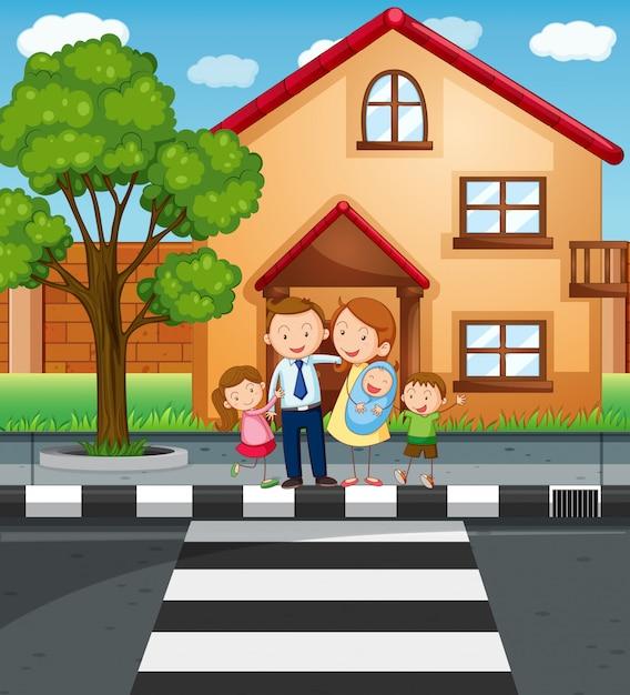 Membres de la famille debout devant la maison Vecteur gratuit