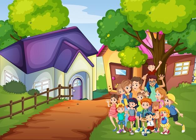 Membres De La Famille Devant La Maison Vecteur gratuit